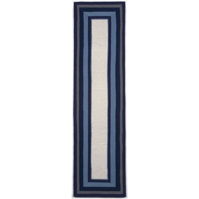 Clark Border Blue Indoor/Outdoor Area Rug Rug Size: Runner 2 x 8