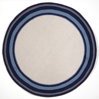Clark Border Blue Indoor/Outdoor Area Rug Rug Size: Round 8