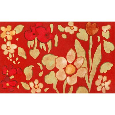 Madelyn Watercolor Flower Doormat Color: Red