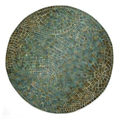 Alline Arch Tile Blue Area Rug Rug Size: Round 8