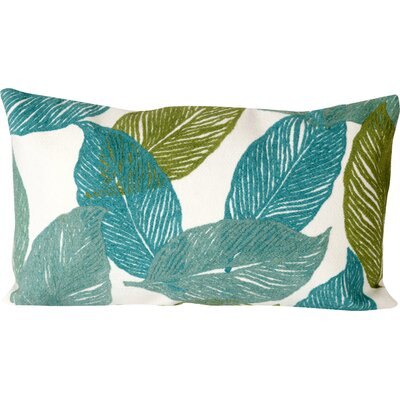 Mystic Leaf Indoor/Outdoor Lumbar Pillow Color: Aqua