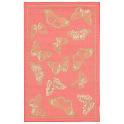 Coeur Butterfly Pink Indoor/Outdoor Area Rug Rug Size: Rectangle 410 x 76