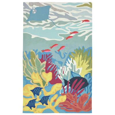Clowers Ocean View Hand-Tufted Blue Indoor/Outdoor Area Rug Rug Size: 36 x 56