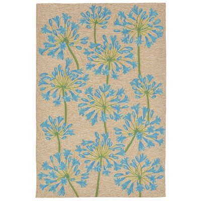 Dazey Lily Hand-Tufted Beige/Blue Indoor/Outdoor Area Rug Rug Size: 36 x 56