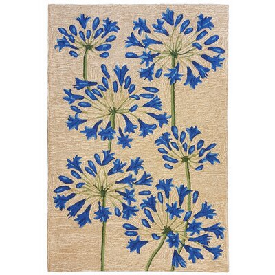 Dazey Lily Hand-Tufted Beige/Blue Indoor/Outdoor Area Rug Rug Size: 76 x 96