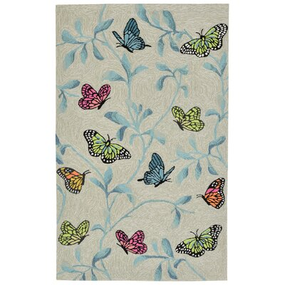 Haverstraw Butterflies on Tree Hand-Tufted Beige/Blue Indoor/Outdoor Area Rug Rug Size: 36 x 56