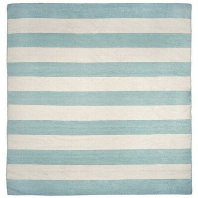 Ranier Stripe Hand-Woven Blue/Beige Indoor/Outdoor Area Rug Rug Size: Square 8