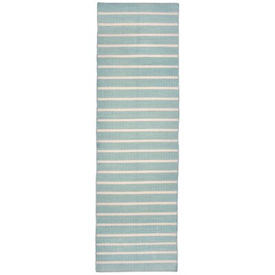 Ranier Pinstripe Hand Woven Blue Indoor/Outdoor Area Rug Rug Size: Runner 2 x 8