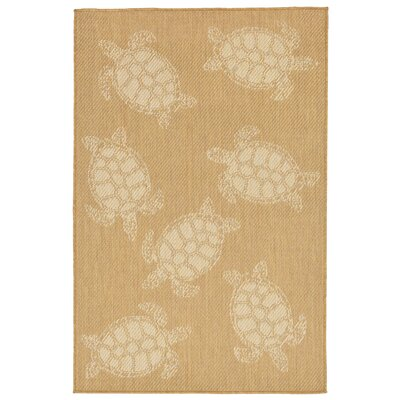 Clatterbuck Seaturtle Almond/Camel Indoor/Outdoor Area Rug Rug Size: 33 x 411