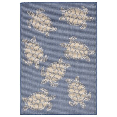 Clatterbuck Seaturtle Navy/Beige Indoor/Outdoor Area Rug Rug Size: 33 x 411