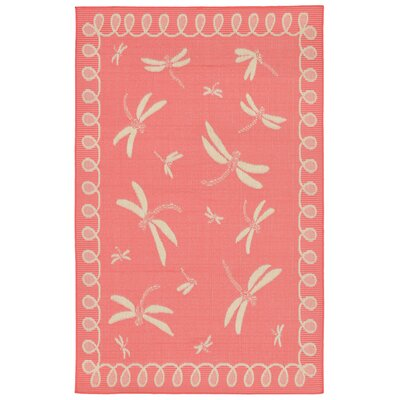 Clatterbuck Dragonfly Pink/Beige Indoor/Outdoor Area Rug Rug Size: Rectangle 710 x 910