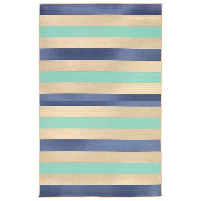 Larana Stripe Beige/Blue Synthetic Indoor/Outdoor Area Rug Rug Size: Rectangle 111 x 211