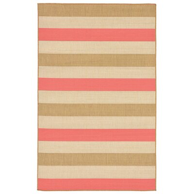 Larana Stripe Beige/Pink Indoor/Outdoor Area Rug Rug Size: 33 x 411
