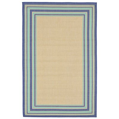 Clatterbuck Border Navy Blue/Baby Blue/Beige Indoor/Outdoor Area Rug Rug Size: 33 x 411