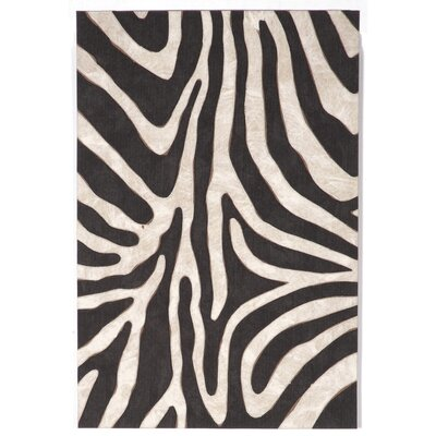 Visions I Black Zebra Indoor/Outdoor AreaRug Rug Size: Rectangle 36 x 56
