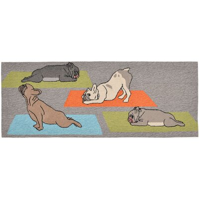 Seavey Yoga Dogs Grey Indoor/Outdoor Area Rug Rug Size: 2 x 3
