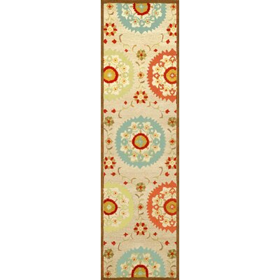 Madge Neutral Suzanie Hand Tufted Wool Beige/Orange/Blue Area Rug Rug Size: Runner 23 x 8