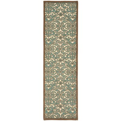 Antigua Aqua Scroll Area Rug Rug Size: 36 x 56