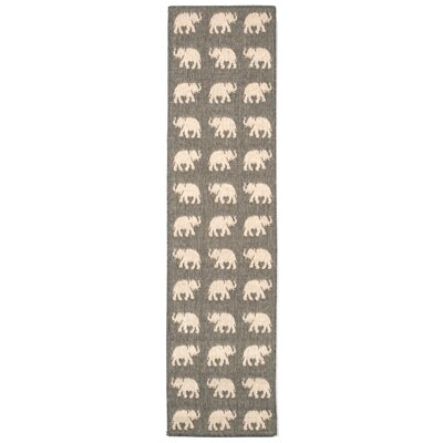 Slimane Silver Elephants Indoor/Outdoor Area Rug Rug Size: 710 x 910