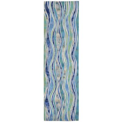 Bernadine Wave Blue Area Rug Rug Size: Runner 13 x 8