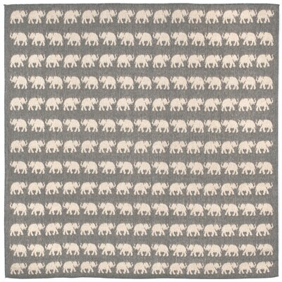 Slimane Silver Elephants Indoor/Outdoor Area Rug Rug Size: Square 710