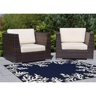 Claycomb Hand-Tufted Navy Indoor/Outdoor Area Rug Rug Size: 76 x 96