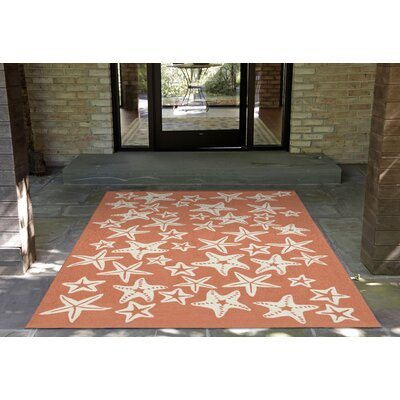 Claycomb Hand-Tufted Coral Indoor/Outdoor Area Rug Rug Size: 76 x 96