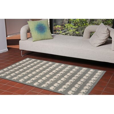 Slimane Silver Elephants Indoor/Outdoor Area Rug Rug Size: Rectangle 710 x 910