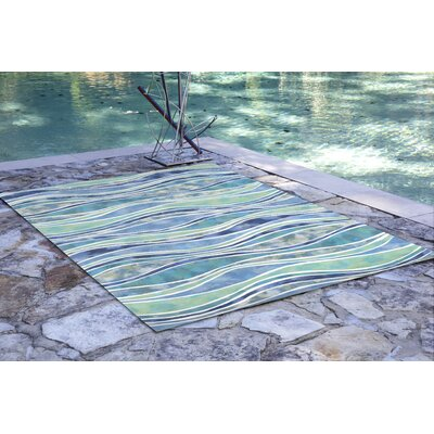 Coggeshall Visions III Wave Blue Area Rug Rug Size: 36 x 56