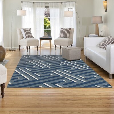 Gaydos Hand-Tufted Denim Area Rug Rug Size: 36 x 56