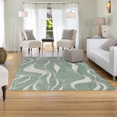 Roma Hand-Tufted Green Area Rug Rug Size: 3'6