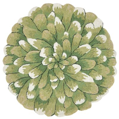Ismay Hand-Tufted Green Indoor/Outdoor Area Rug Rug Size: Round 3