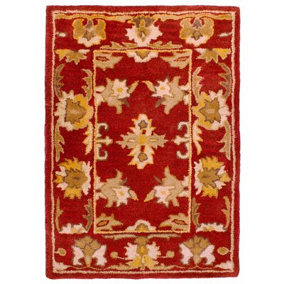 Eugenie Hand-Tufted Red Area Rug Rug Size: 36 x 56