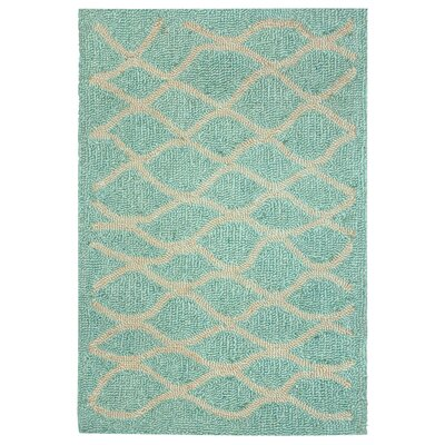 Bogard Hand-Tufted Aqua Indoor/Outdoor Area Rug Rug Size: 83 x 116