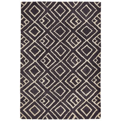 Chamness Hand-Tufted Charcoal/Beige Indoor/Outdoor Area Rug Rug Size: 76 x 96