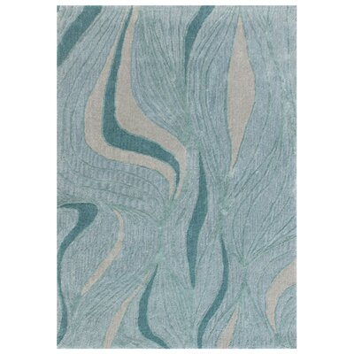 Roma Hand-Tufted Teal Area Rug Rug Size: 36 x 56