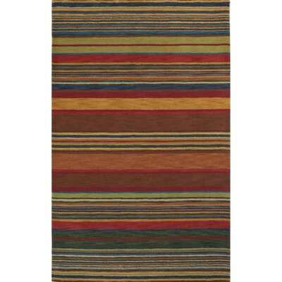 Degennaro Stripes Hand-Tufted Red Indoor Area Rug Rug Size: 5 x 8