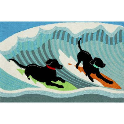 Olsen Surfing Dogs Blue Indoor/Outdoor Area Rug Rug Size: 2 x 3