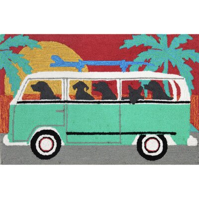 Thomasina Beach Trip Turquoise Indoor/Outdoor Area Rug Rug Size: Rectangle 2 x 5