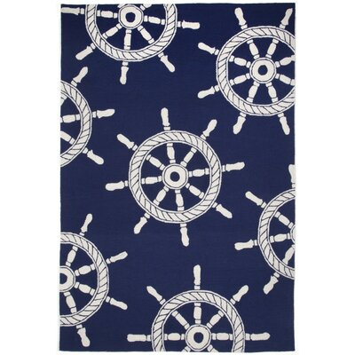 Walton Ship Wheel Navy Indoor/Outdoor Area Rug Rug Size: Rectangle 5 x 76