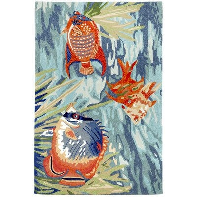 Clowers Tropical Fish Blue Area Rug Rug Size: 36 x 56