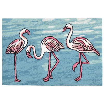 Boller Flamingo Handmade Blue Indoor/Outdoor Area Rug Rug Size: 76 x 96
