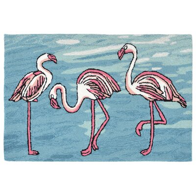 Boller Flamingo Handmade Blue Indoor/Outdoor Area Rug Rug Size: 36 x 56