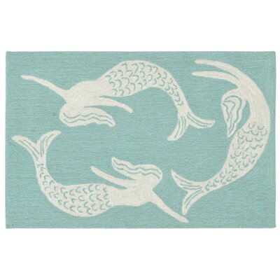 Northfield Mermaids Handmade Blue Indoor/Outdoor Area Rug Rug Size: 18 x 26
