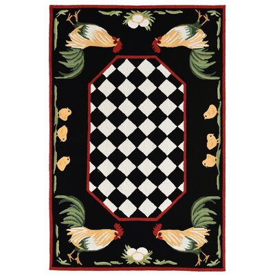 Treport Rooster Handmade Black Indoor/Outdoor Area Rug Rug Size: 76 x 96