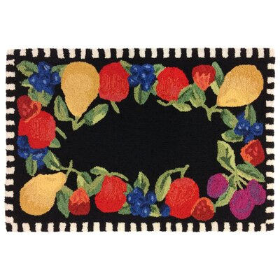 Treport Fruits Handmade Black Indoor/Outdoor Area Rug Rug Size: 18 x 26
