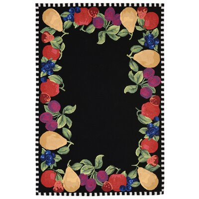 Treport Fruits Handmade Black Indoor/Outdoor Area Rug Rug Size: 5 x 76