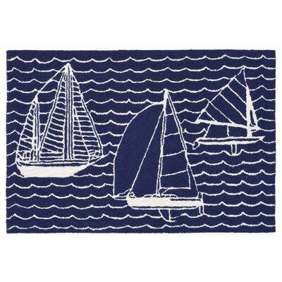 Northfield Sails Handmade Navy Indoor/Outdoor Area Rug Rug Size: 18 x 26