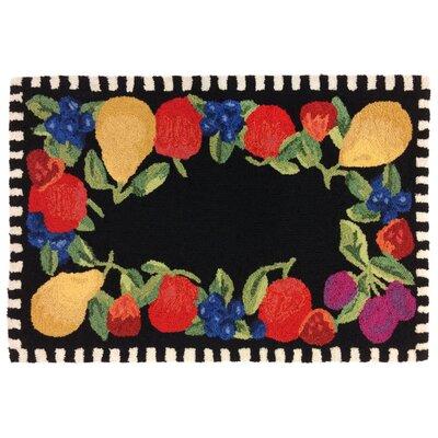 Treport Fruits Handmade Black Indoor/Outdoor Area Rug Rug Size: 26 x 4