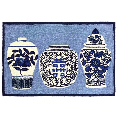 Ardelle Ginger Jars Handmade Blue Indoor/Outdoor Area Rug Rug Size: 18 x 26